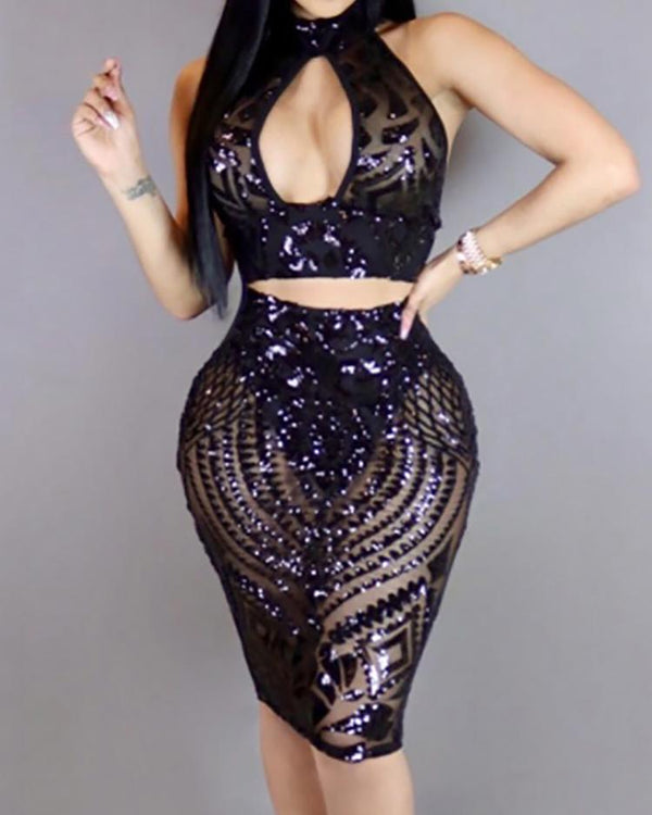 Stylish Sequins Cut Out Halter Crop Top with Skirt