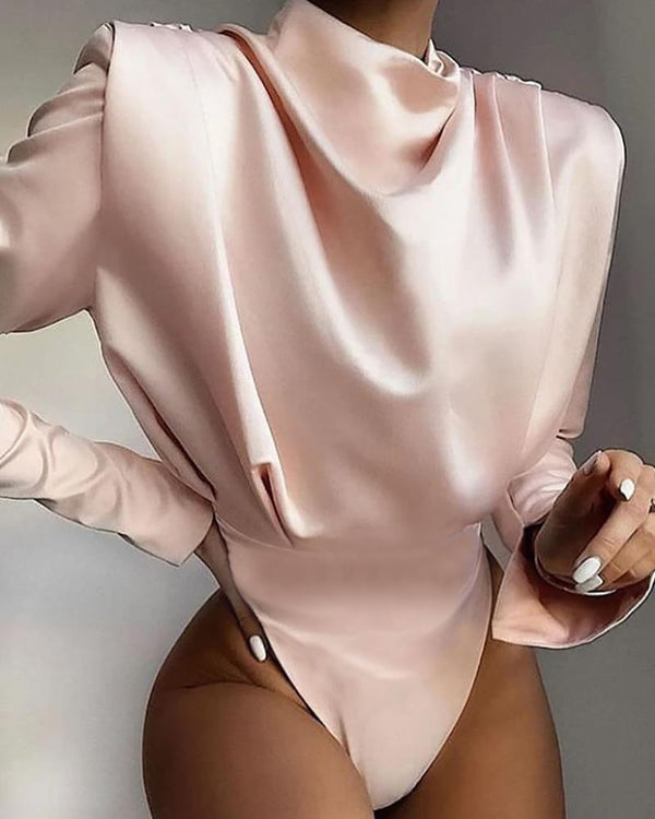 Solid High Neck Drape Front Bodysuit