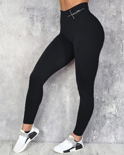 Letter Pattern Print High Waist Sporty Pants