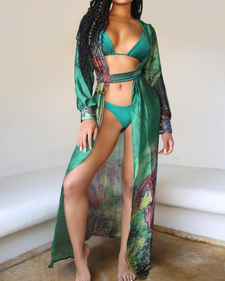 Floral Print Open Front Belted Long Cover Up