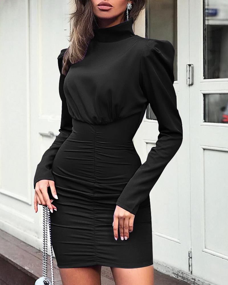 Solid High Neck Long Sleeve Ruched Dress