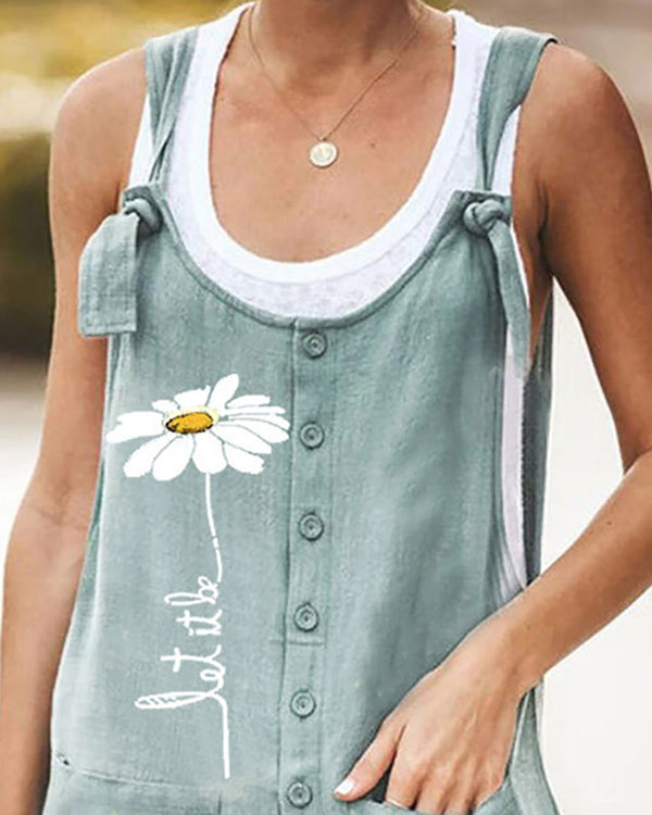 Daisy Pattern Button Design Pockets Suspender Romper