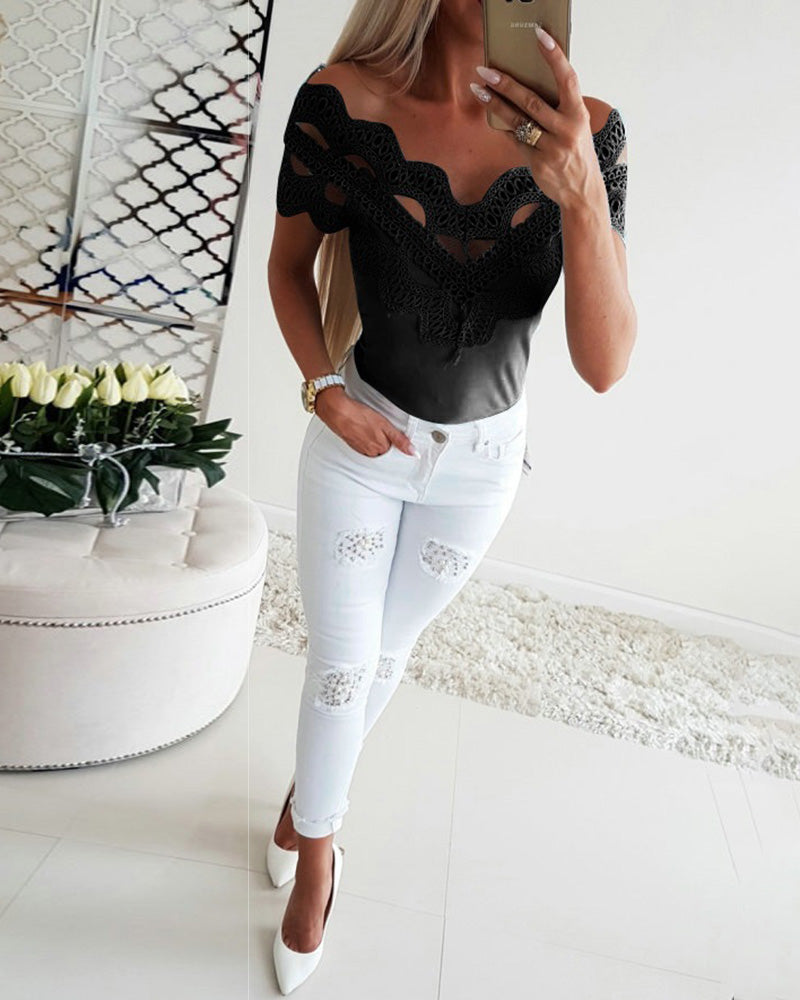 Hollow Out Off Shoulder Lace Top