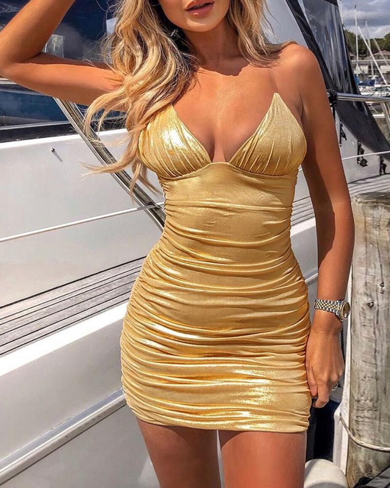 Solid Spaghetti Strap Ruched Bodycon Dress