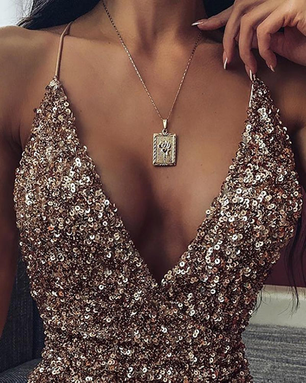 Spaghetti strap Plunge Sequins Dress