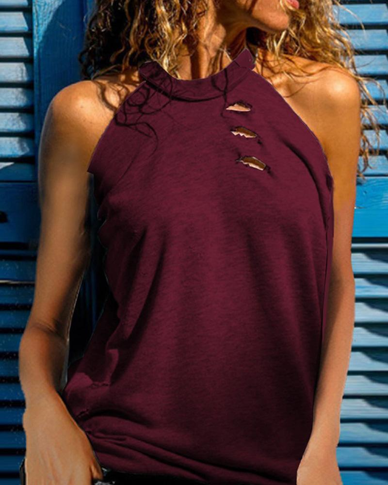 Ribbed Cutout Sleeveless Casual Top