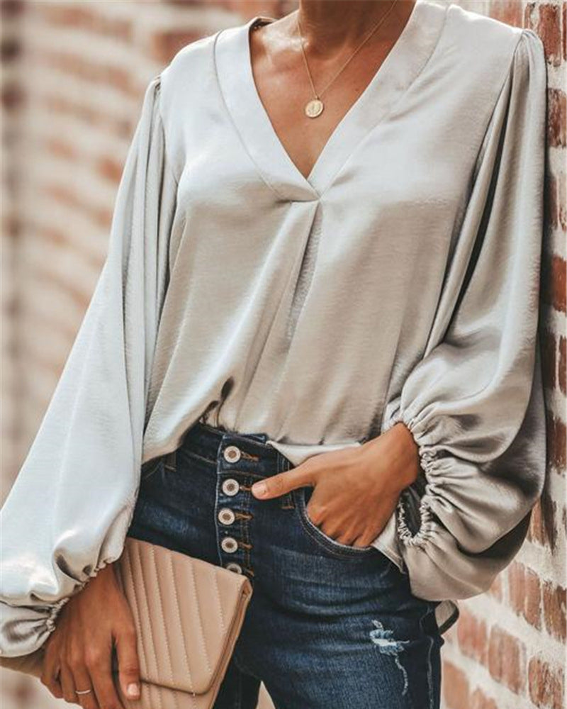 Lantern Sleeve V Neck Casual Blouse