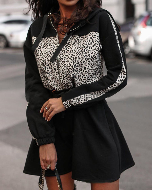 Leopard Print Hooded Zipper Casual Dress