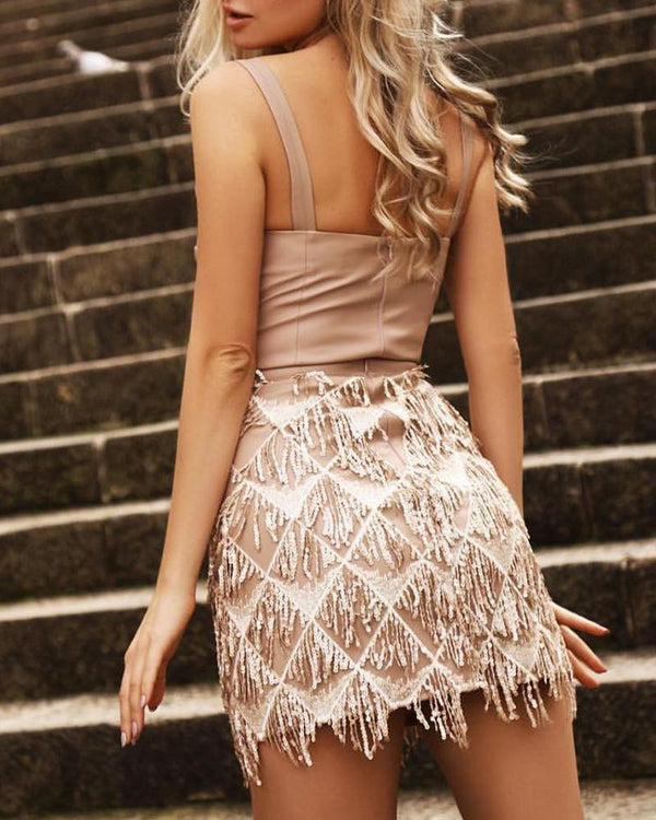 Solid Thin Strap Sequins Tassel PU Bodycon Dress