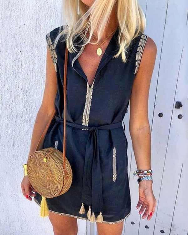 Colorblock Tassel Design Sleeveless Dress