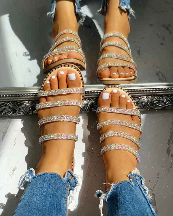 Studded Multi-Strap Slipper Sandals