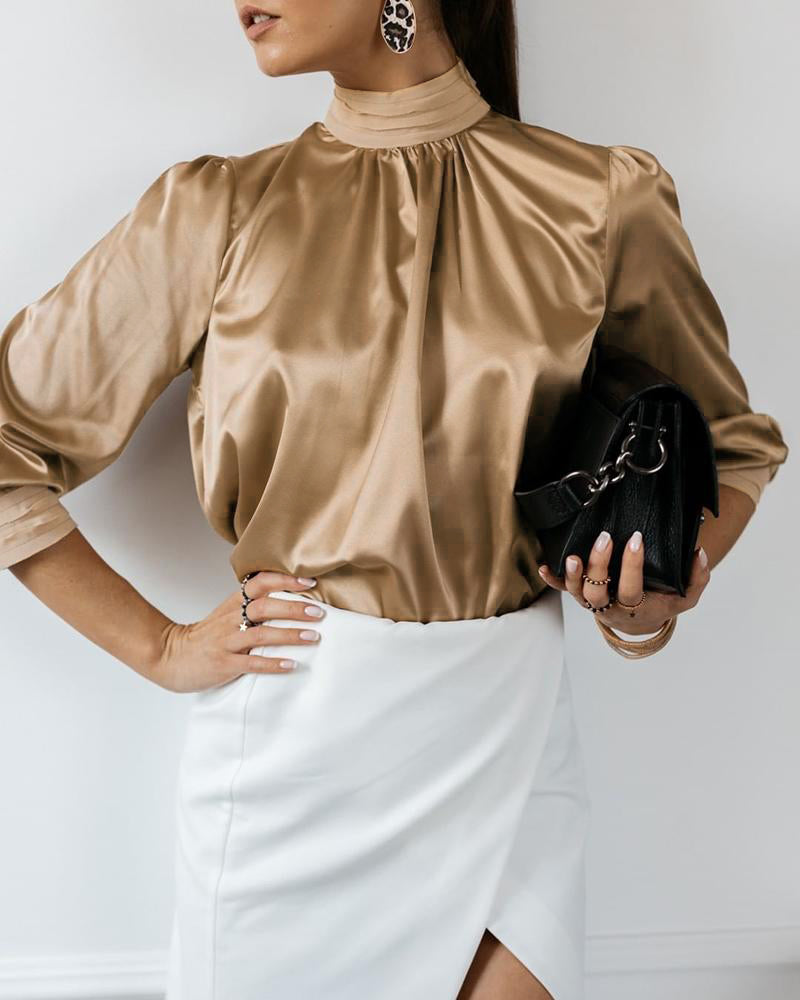Satin Design Ruched High Neck Blouse