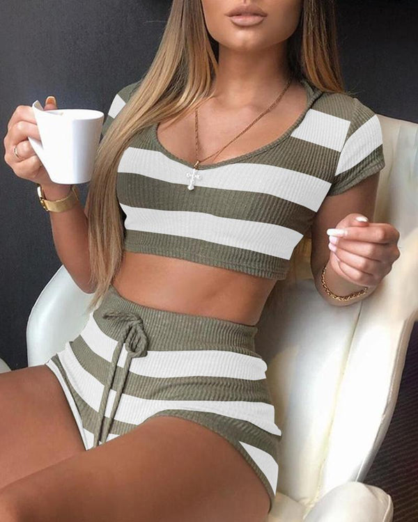 Striped Hooded Short Sleeve Top & Short Set
