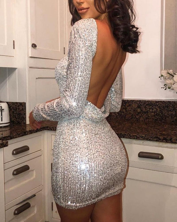 Sequined Backless Bodycon Mini Dress