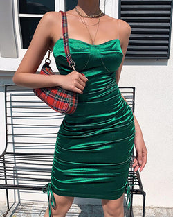 Transparent Spaghetti Strap Ruched Bodycon Dress