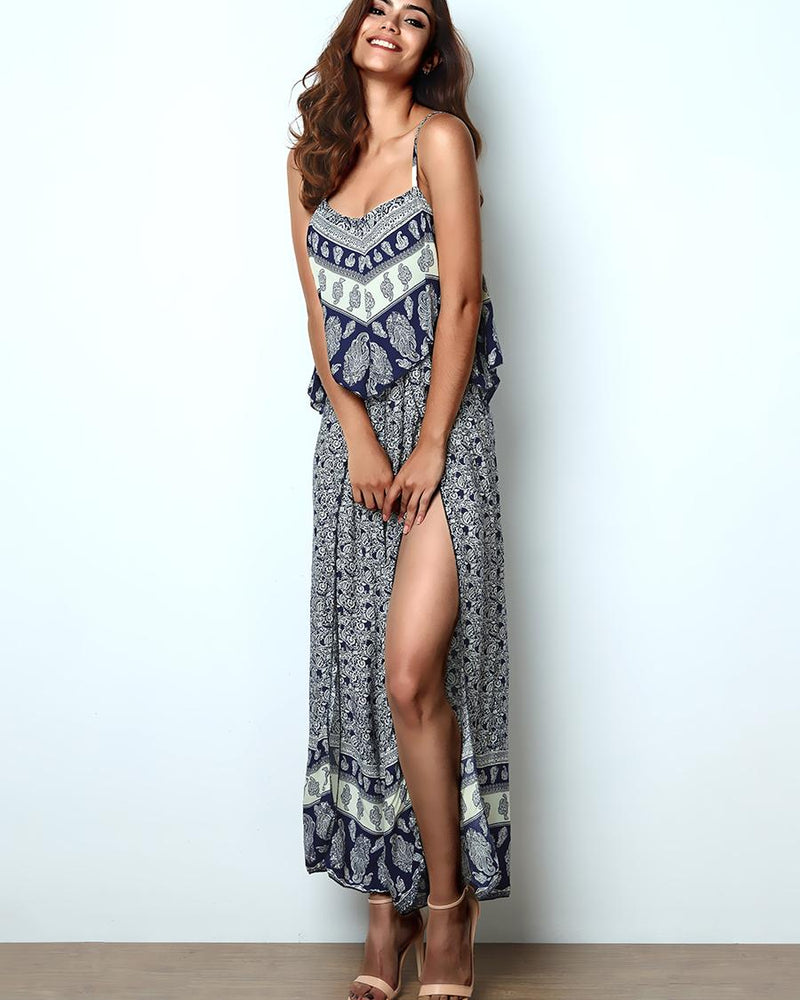 Ethnic Style Layered Ruffle High Slit Maxi Slip Dress