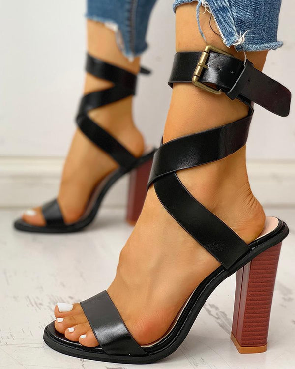 Crisscross Bandage Buckled Chunky Heeled Sandals