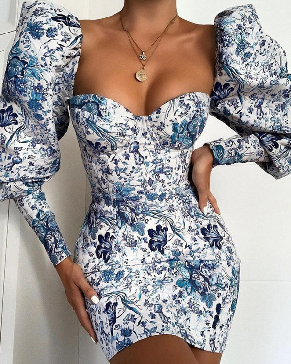 Random Print Puff Sleeve Bodycon Dress