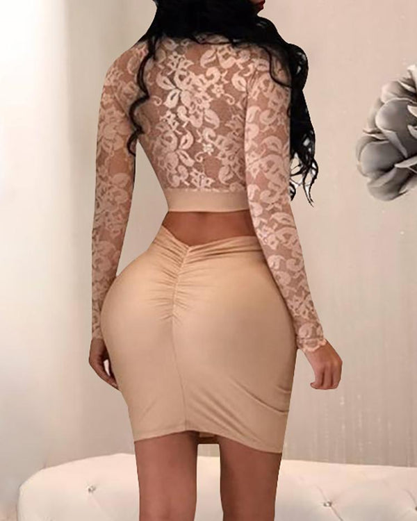 See Through Lace Cropped High Waist Two-Pieces Dress