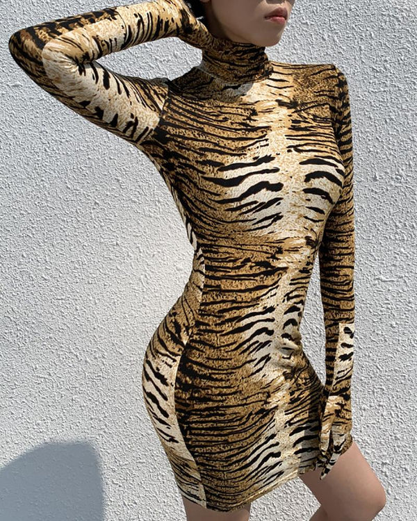 Tiger Print Long Sleeve Bodycon Dress