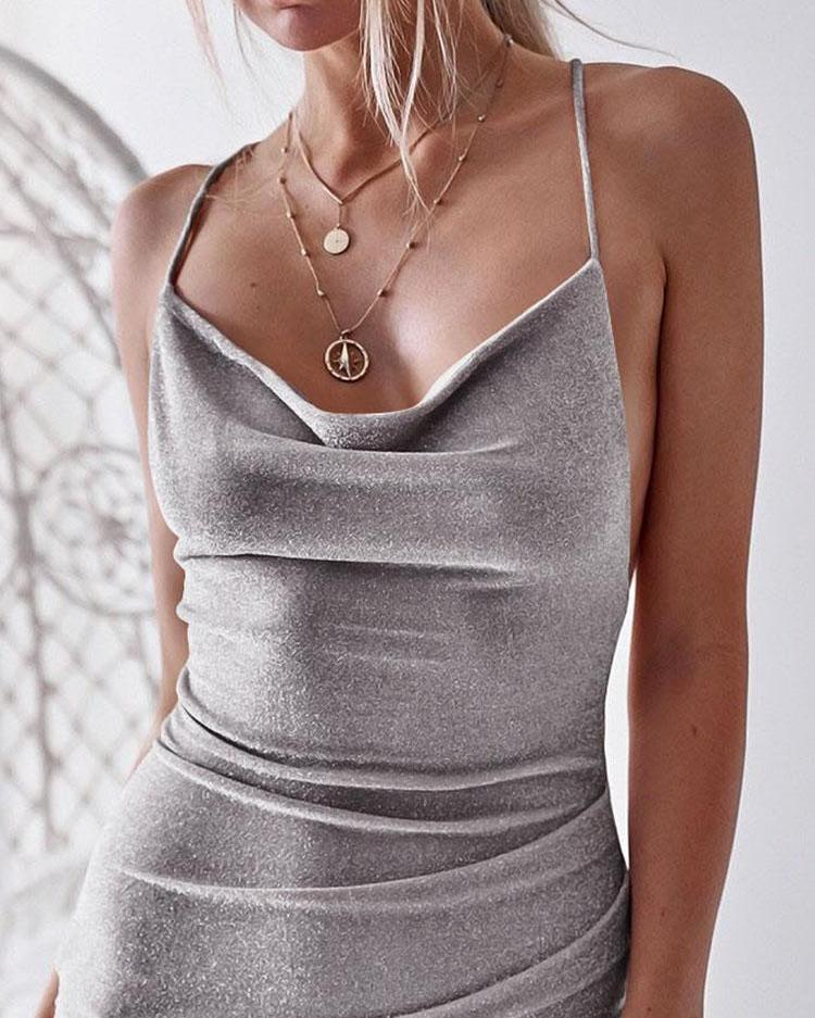Glittering Drape Neck Scrunched Irregular Party Dress