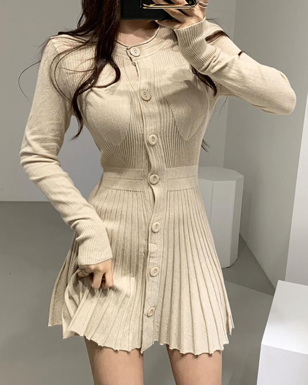 Solid Round Neck Riibbed Long Sleeve Buttoned Pleated Dress