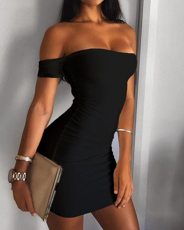 Off Shoulder Bodycon Mini Dress