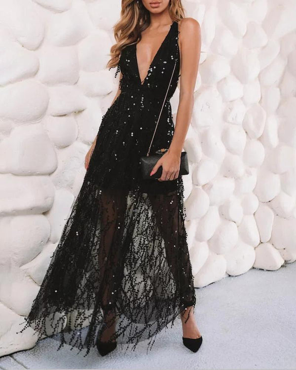 Plunge Sheer Mesh Backless Sequins Evening Dress
