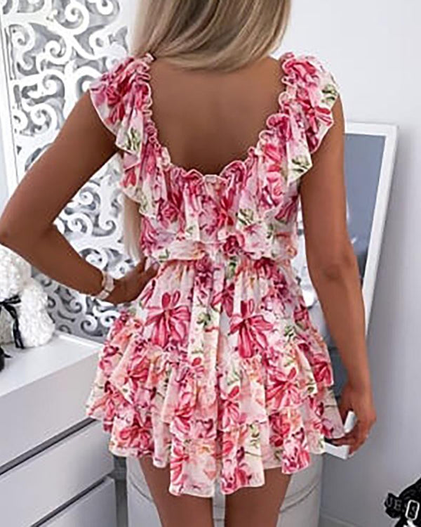 Floral Print Layered Ruffles Ruched Casual Dress
