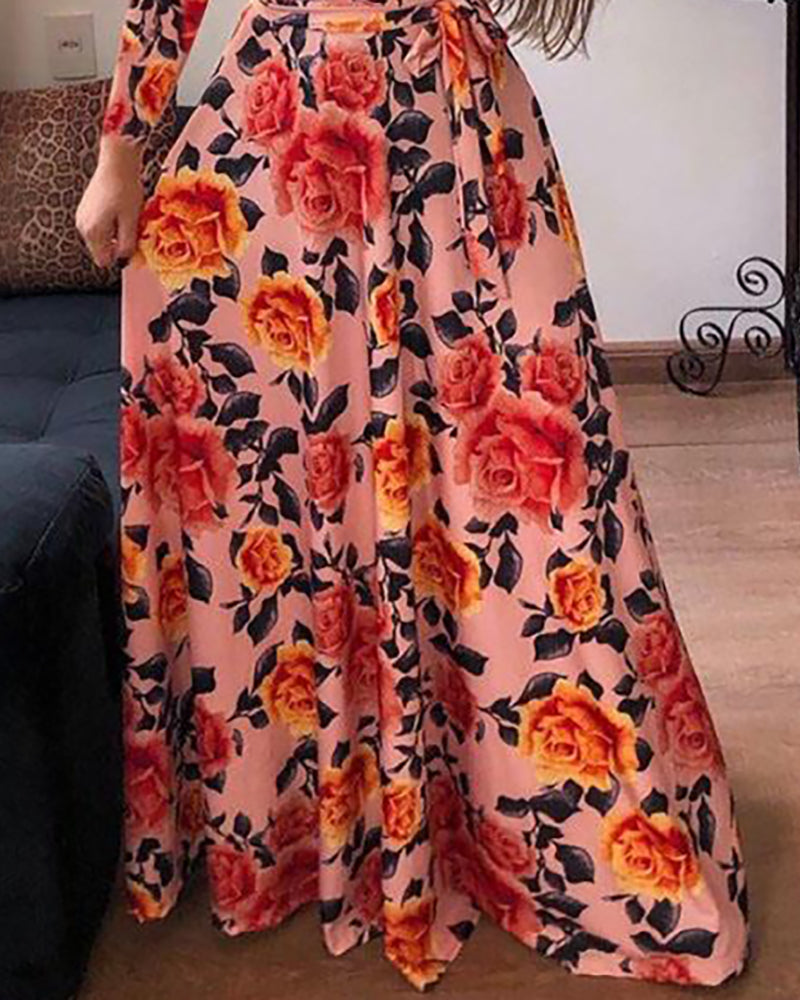 Long Sleeve Print Maxi Dress