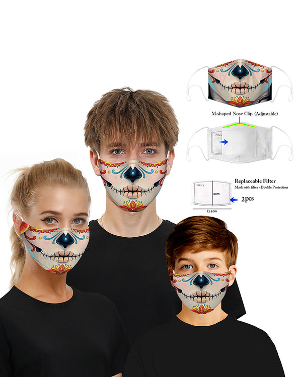 Skull Print Breathable Mouth Mask Washable And Reusable With 2PCS Replaceable Filter