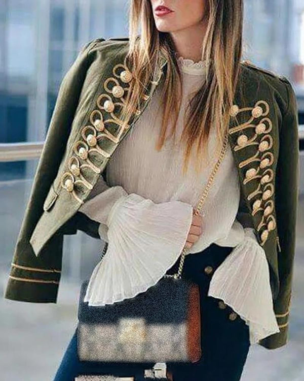 Long Sleeve buttoned Design Coat