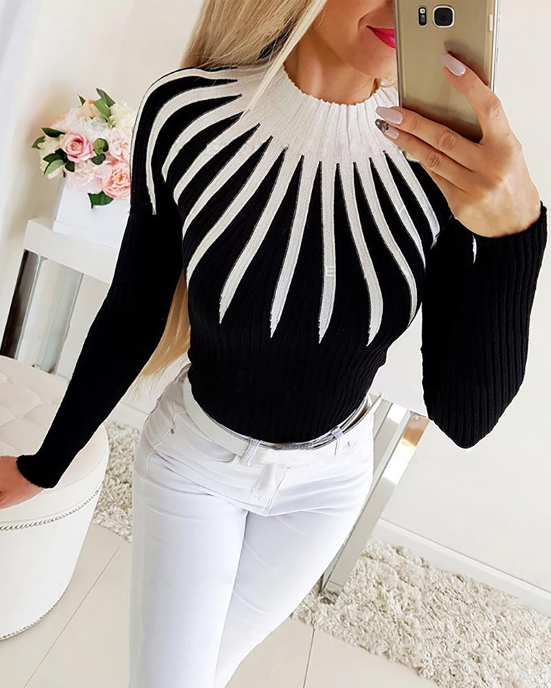 Colorblock Long Sleeve Ribbed Sweater