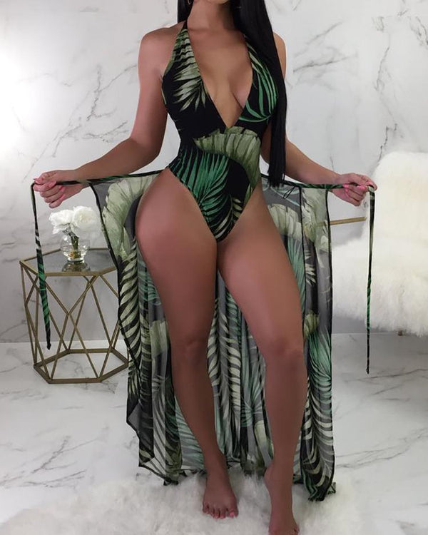 Leaf Print One Piece Swimsuit With Cover Up