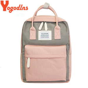 Yogodlns Campus Women Backpack School Bag for Teenagers College Canvas Female Bagpack 15inch Laptop Back Packs Bolsas Mochila