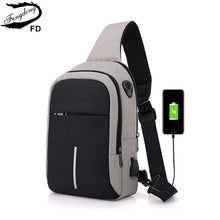 Load image into Gallery viewer, FengDong small usb charge one shoulder bag men messenger bags male waterproof sling chest bag 2019 new bagpack cross body bags