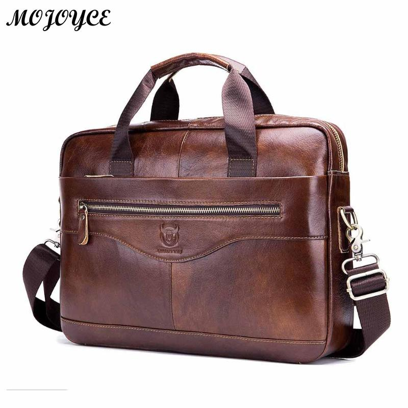 BULLCAPTAIN Shoulder Messenger Handbags Brown Men Leather Business Laptop Briefcase Travel Crossbody Bags lBolso de mano 2019