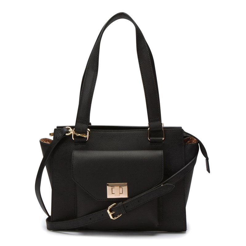 Margot Turn Lock Satchel - Black