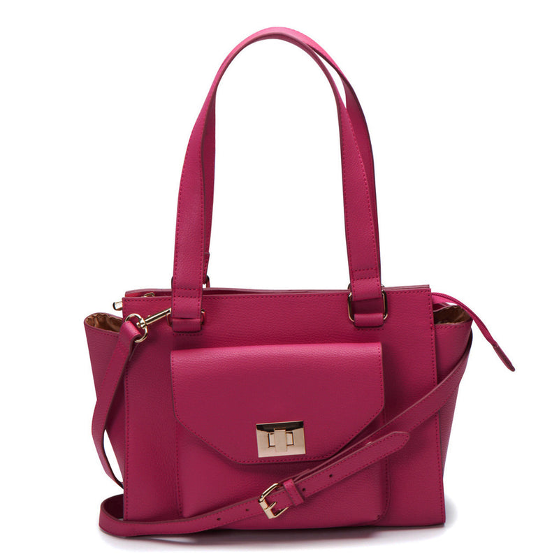 Margot Turn Lock Satchel - Peony
