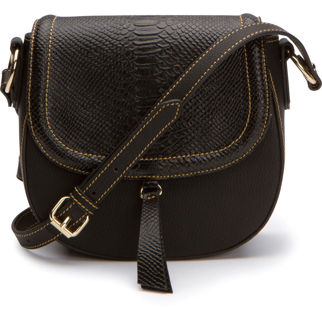 Phoebe Saddle Crossbody - Black Snake