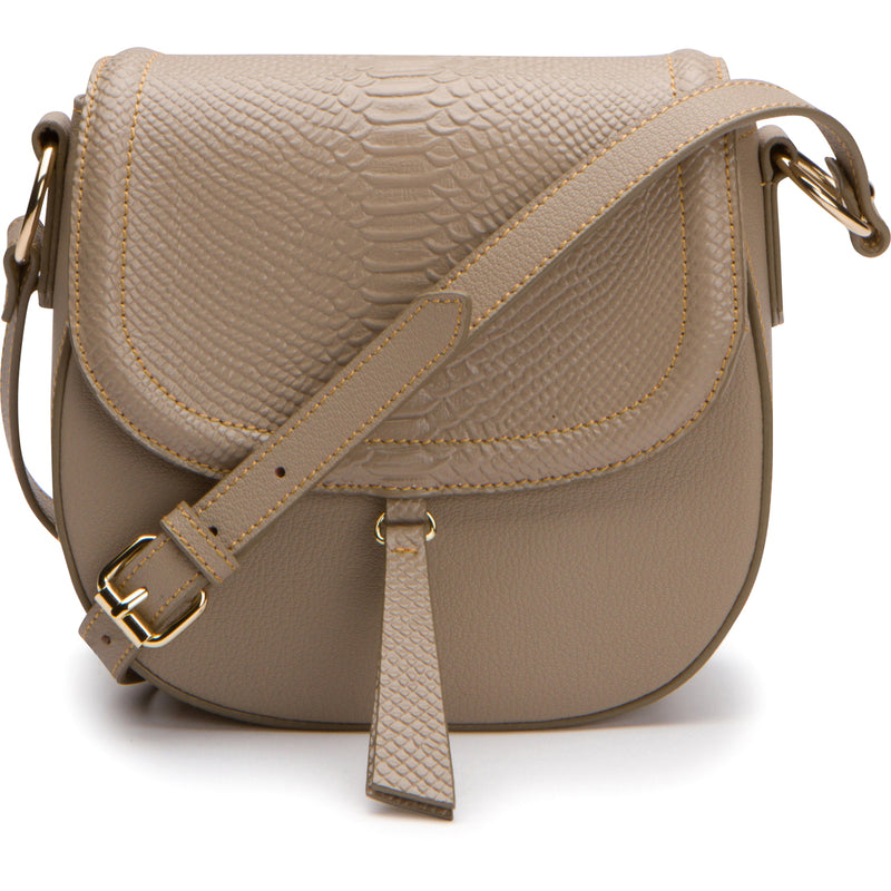 Phoebe Saddle Crossbody - Khaki Taupe Snake