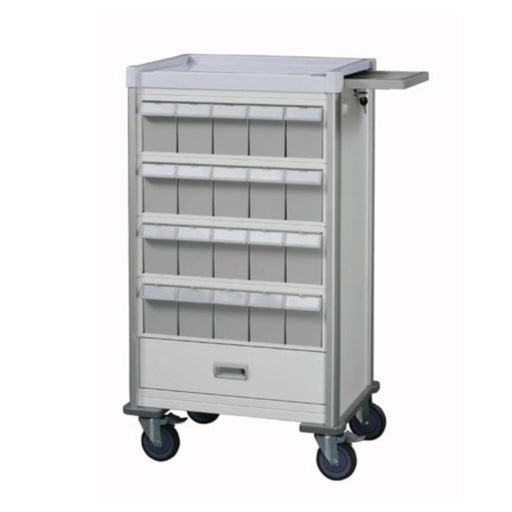 "Double-face medication trolley, individual 6"" bin, 42"", White - WIDOS Asia"