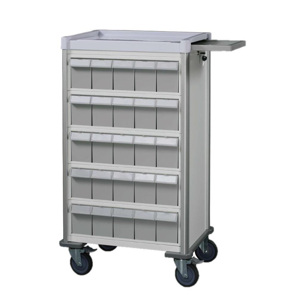 "MX Double-Face Medication Trolley, Individual 6"" Bin, 42"" (White) - WIDOS Asia"