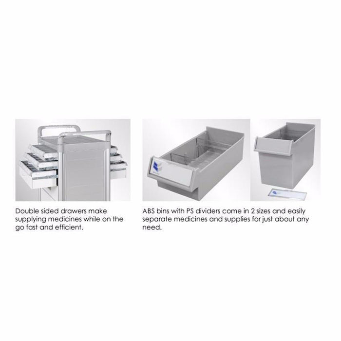 "Function-Cart Double-Face Medication Trolley 34"" (White) - WIDOS Asia"