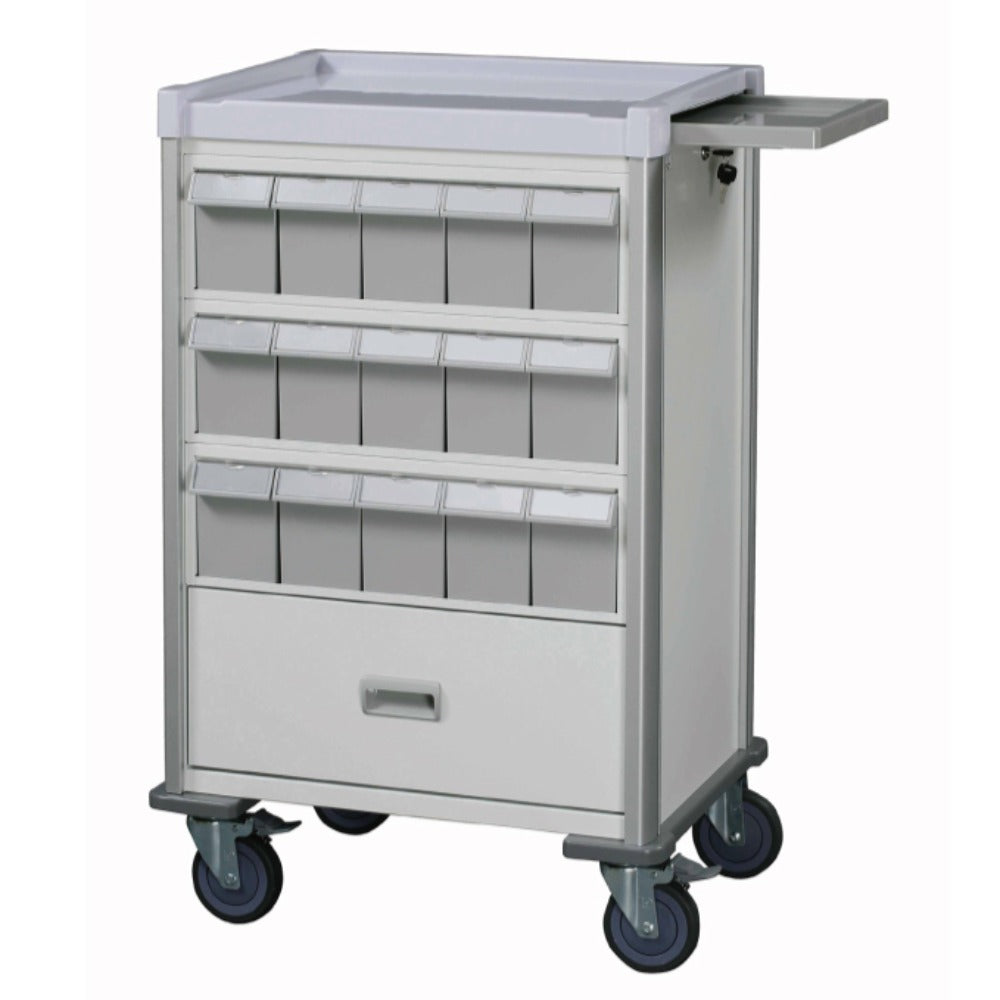 "Double-face medication trolley, individual 6"" bin, 37"", White - WIDOS Asia"