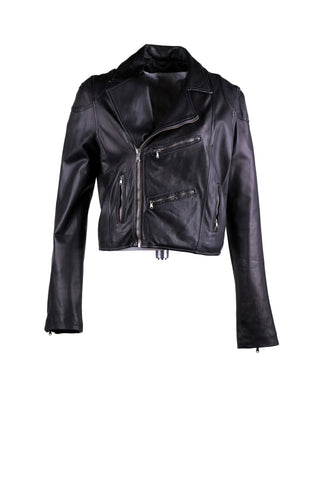 Cropped motorcycle jacket with asymmetrical zipper and oversized collar design. With four pocket detailing on the front and outlining stitching design, front and back.