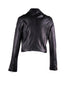 Cropped motorcycle jacket with asymmetrical zipper with outlining stitching design