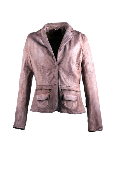 Snake print blazer jacket, with two front flap pockets with zipper design on top. With outlining stitching design