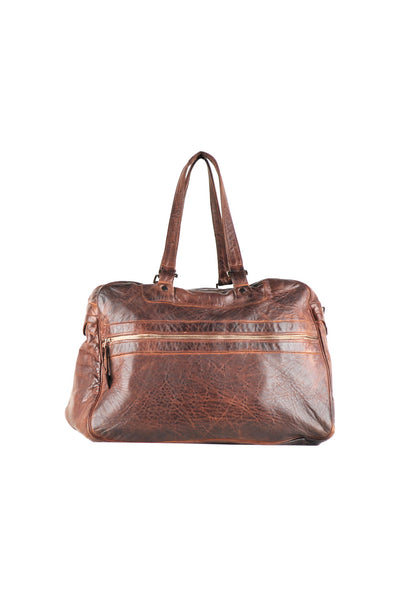 Medium sized vintage brown leather bag with front zipper detail and shoulder straps.