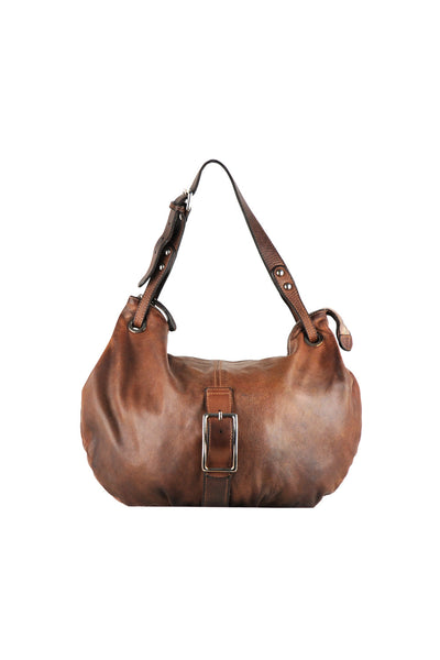 Saddle hand bag with buckle design and strap